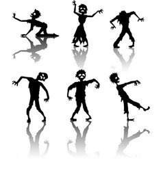 Zombie silhouette collection vector