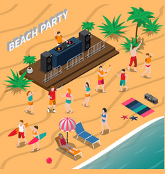 beach party isometric composition vector image vector image
