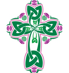 image Celtic cross with flowers thistle vector image vector image