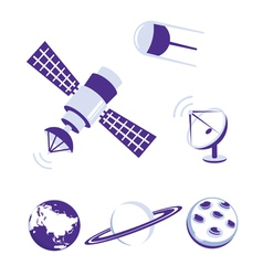 Space and satellite icons blue set vector image vector image