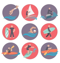 Water sports icons set flat vector image