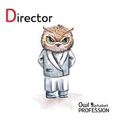 Alphabet professions Owl Letter D - Director vector image