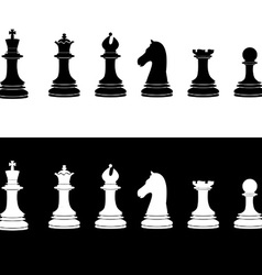 Black and white chess pieces vector image vector image