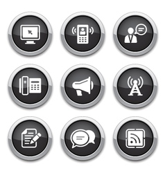 black communication buttons vector image