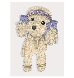 Cute hipster dog vector