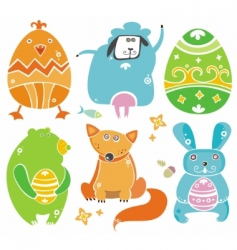 easter cute set of animals vector image vector image