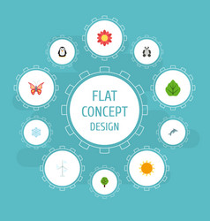 Flat icons beauty insect playful fish blossom vector