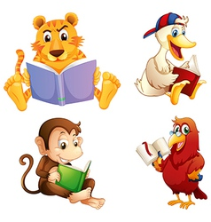 Four animals reading vector image vector image