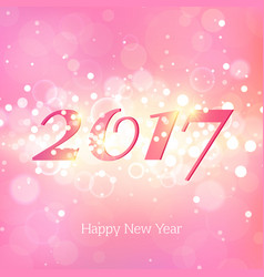 happy new year 2017 on pink abstract background vector image vector image