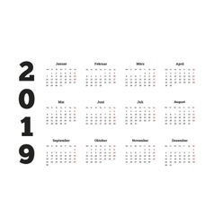 Simple calendar on 2019 year in german language vector image vector image