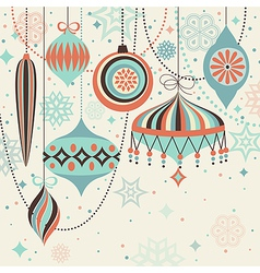christmas vintage card with baubles vector image vector image
