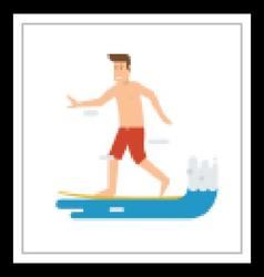 Surfer Man Riding on Wave vector image vector image