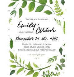 Wedding invitation floral invite card design with vector