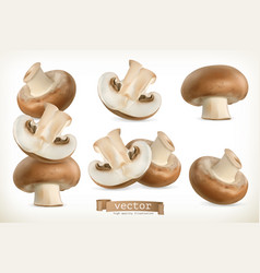 brown cremini mushroom 3d icon set isolated on vector image vector image