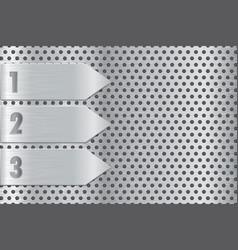 metal perforated plate with steel arrow steel vector image vector image