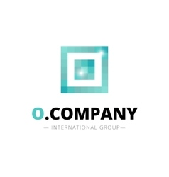 pixel style geometric O letter logo vector image vector image