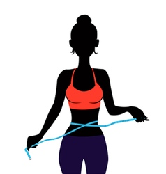 silhouette Woman measuring herself vector image