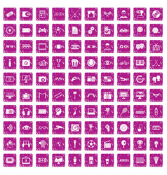 100 video icons set grunge pink vector image