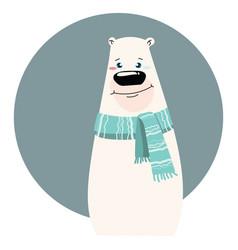 A cartoon portrait of bear stylized polar bear vector