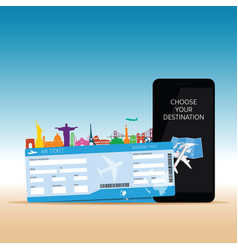 air ticket with mobil phone vector image