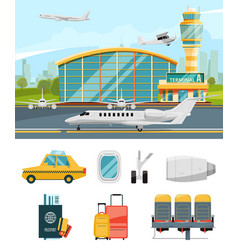 Airport terminal aircraft vector