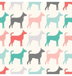 Animal seamless pattern dog silhouettes endless vector
