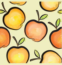 apple watercolor seamless pattern juicy fruits vector image