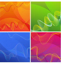 Background designs with wavy lines in four colors vector