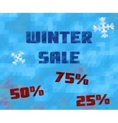 Background with winter sale text Low poly vector