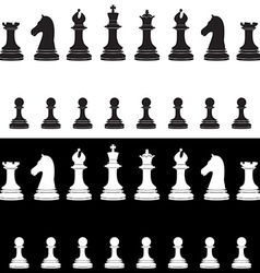 Black and white chess pieces full collection vector image