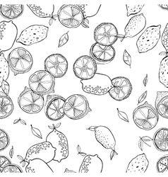 Black and white seamless pattern with lemons for vector image