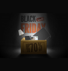 black friday sale discounts banner wood box dark vector image