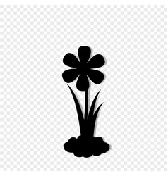 Black silhouette of blossom growing in soil vector