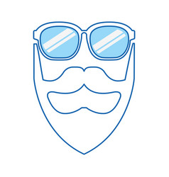 Blue icon man face vector