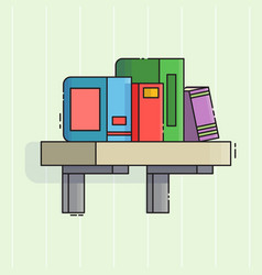 Bookshelf icon flat line style vector