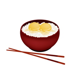 Bowl of White Rice with Raw Egg vector image