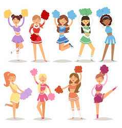 Cartoon cheerleaders girls sport fan dancing vector