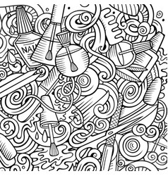 Cartoon cute doodles hand drawn nail salon vector