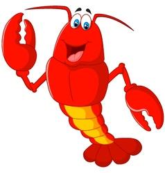 Cartoon lobster waving vector
