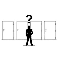 cartoon of businessman with question mark above vector image