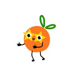 Cartoon orange party character in funny glasses vector