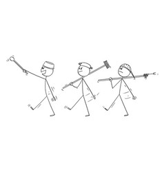 Cartoon three adult men playing at soldiers vector