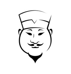 Chinese chef contour vector