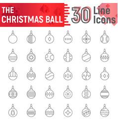 christmas ball thin line icon set xmas toys vector image