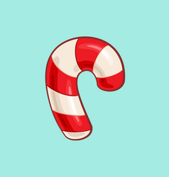 christmas cartoon icon - red candy cane vector image