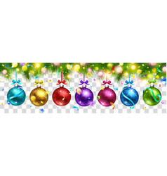 christmas colored balls and light effect isolated vector image