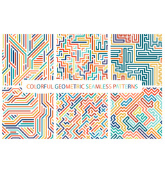 collection of colorful seamless geometric patterns vector image