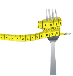 color set of fork and measuring tape for a healthy vector image