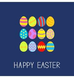 Colored Easter egg set composition Flat design vector image