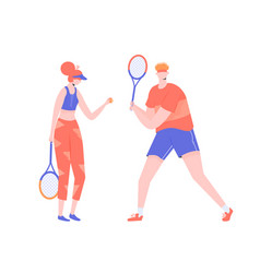Couple athletes tennis players vector